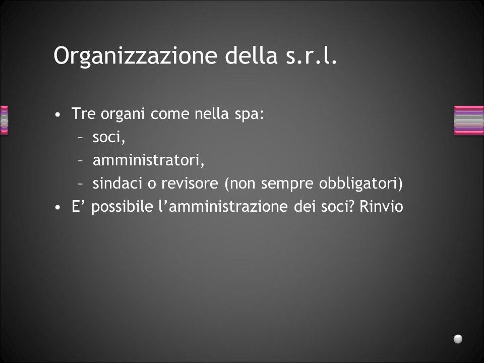Organizzazione della s.r.l.