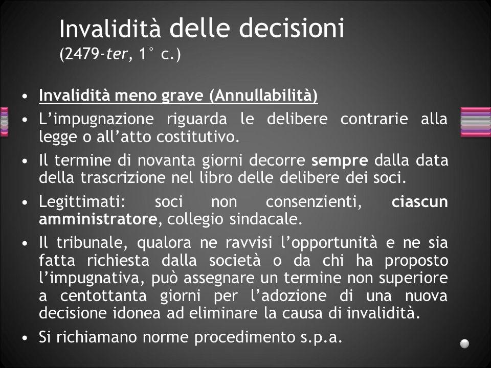 Invalidità delle decisioni (2479-ter, 1° c.)