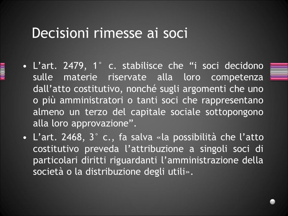 Decisioni rimesse ai soci