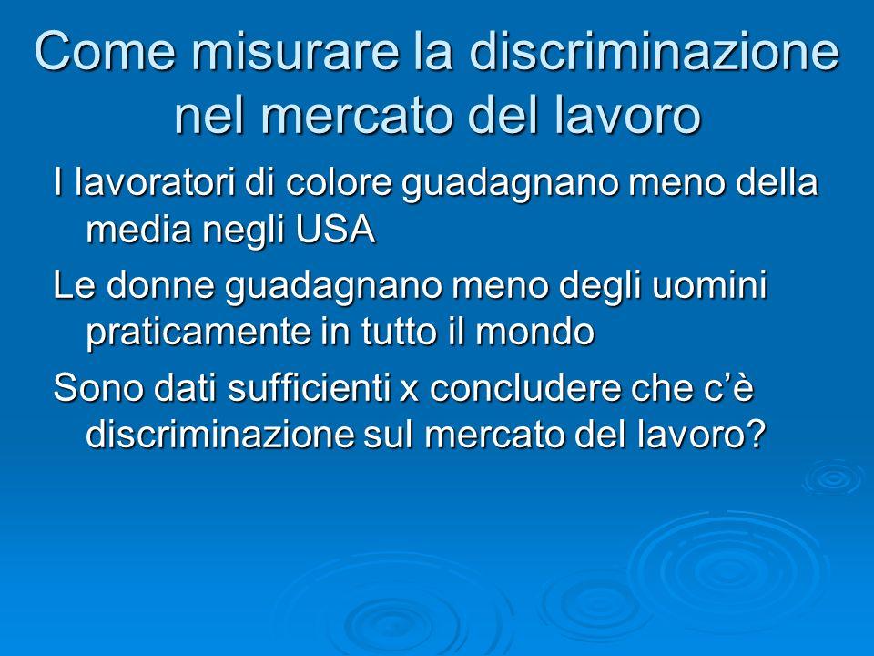 Come misurare la discriminazione nel mercato del lavoro