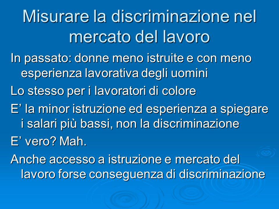 Misurare la discriminazione nel mercato del lavoro