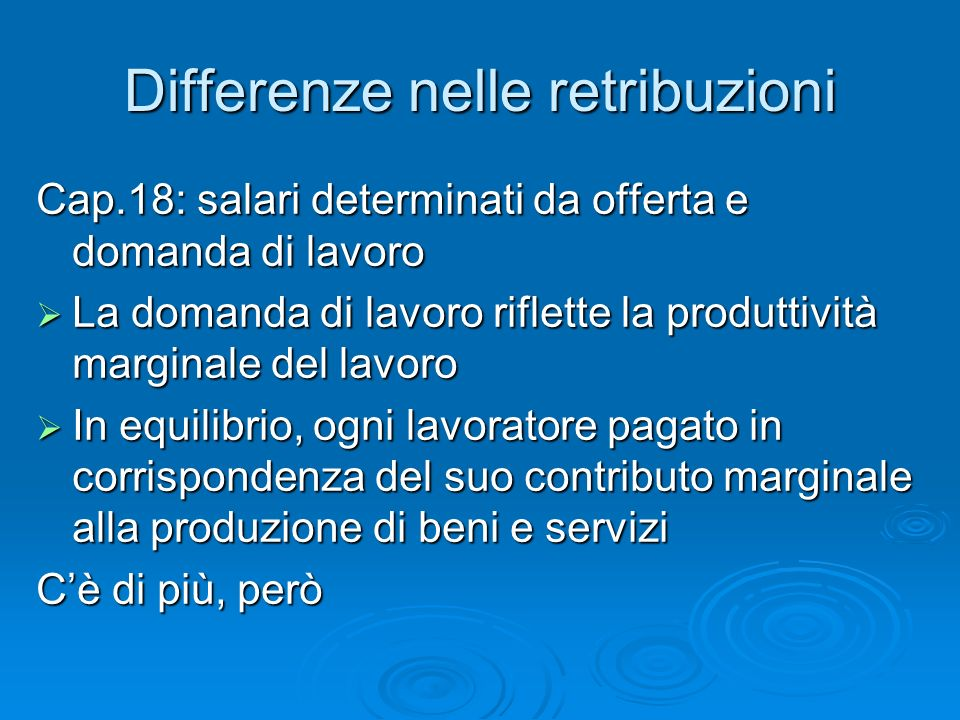 Differenze nelle retribuzioni