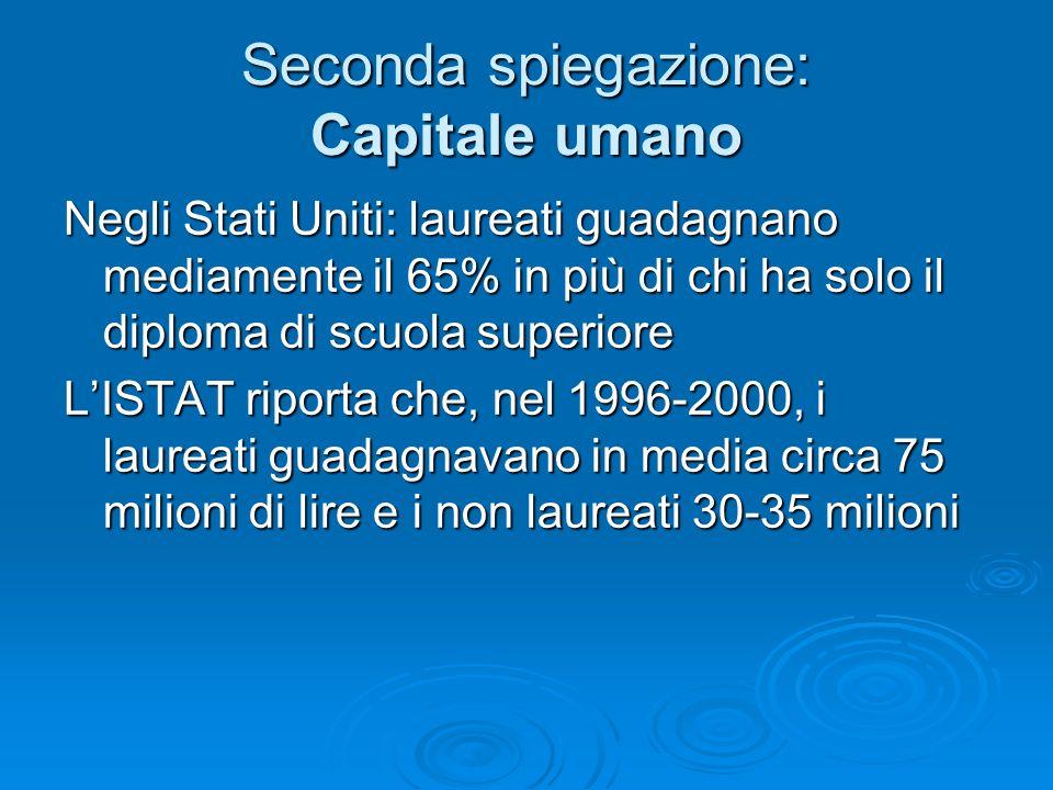 Seconda spiegazione: Capitale umano