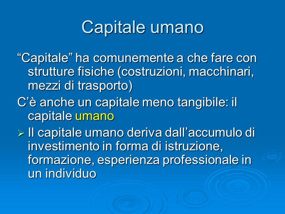 Capitale umano Capitale ha comunemente a che fare con strutture fisiche (costruzioni, macchinari, mezzi di trasporto)