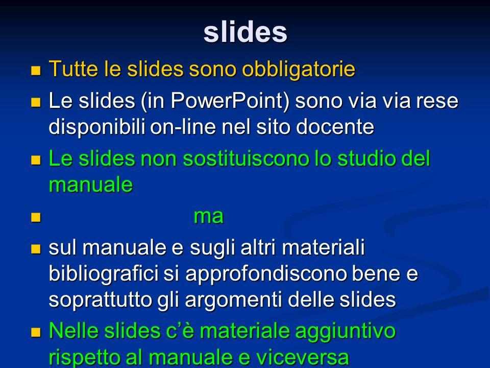 slides Tutte le slides sono obbligatorie