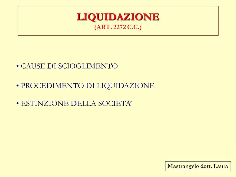 LIQUIDAZIONE (ART. 2272 C.C.) CAUSE DI SCIOGLIMENTO