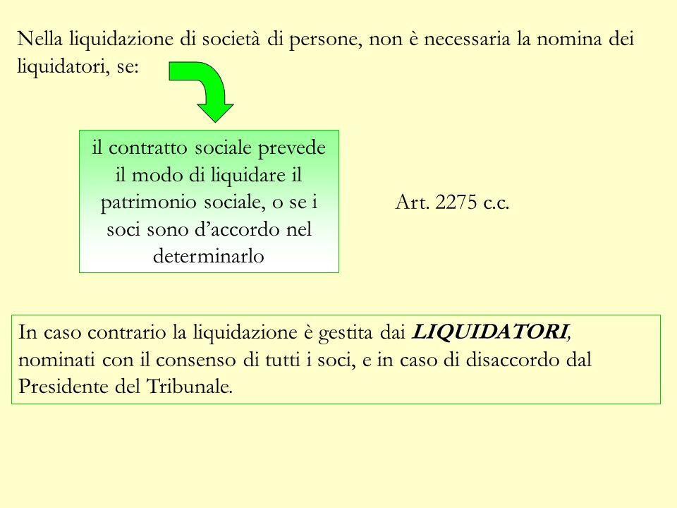 Nella liquidazione di società di persone, non è necessaria la nomina dei liquidatori, se: