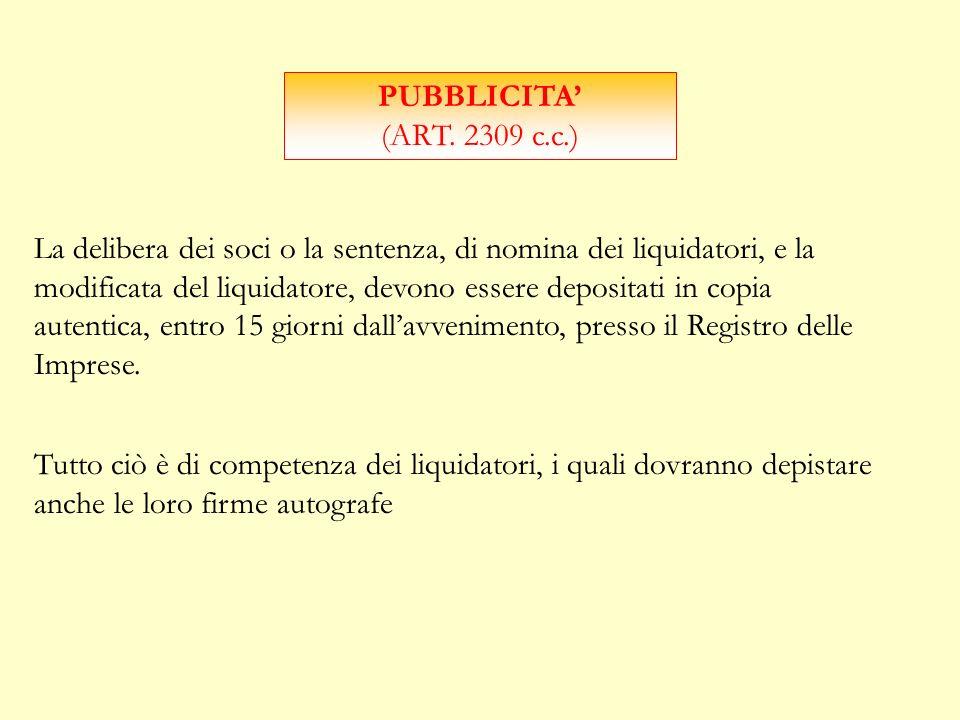 PUBBLICITA' (ART. 2309 c.c.)