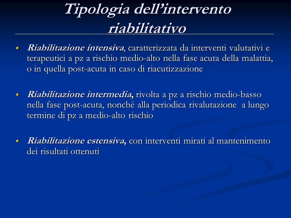 Tipologia dell'intervento riabilitativo