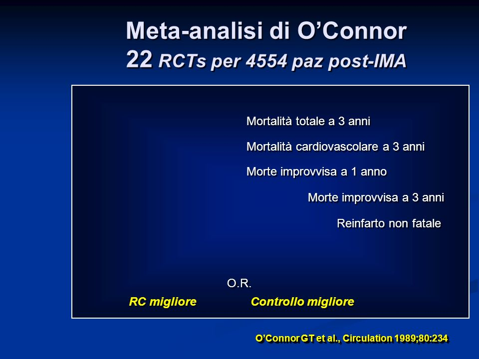 Meta-analisi di O'Connor 22 RCTs per 4554 paz post-IMA