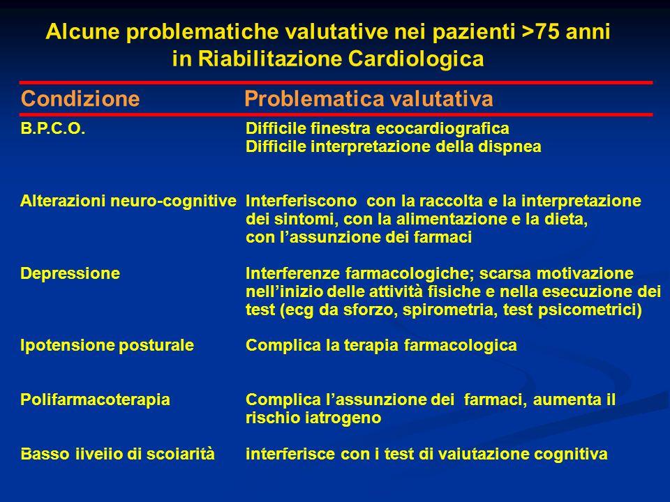 Alcune problematiche valutative nei pazienti >75 anni