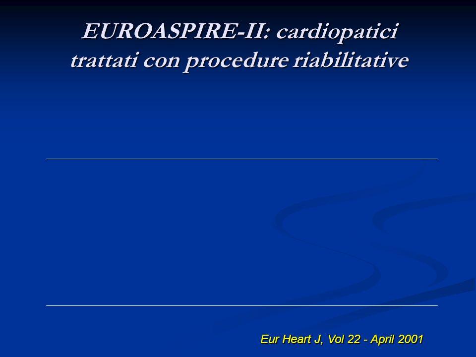 EUROASPIRE-II: cardiopatici trattati con procedure riabilitative