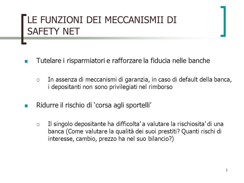 LE FUNZIONI DEI MECCANISMII DI SAFETY NET