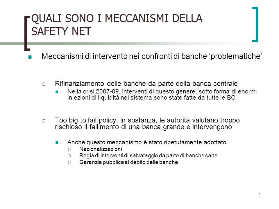 QUALI SONO I MECCANISMI DELLA SAFETY NET