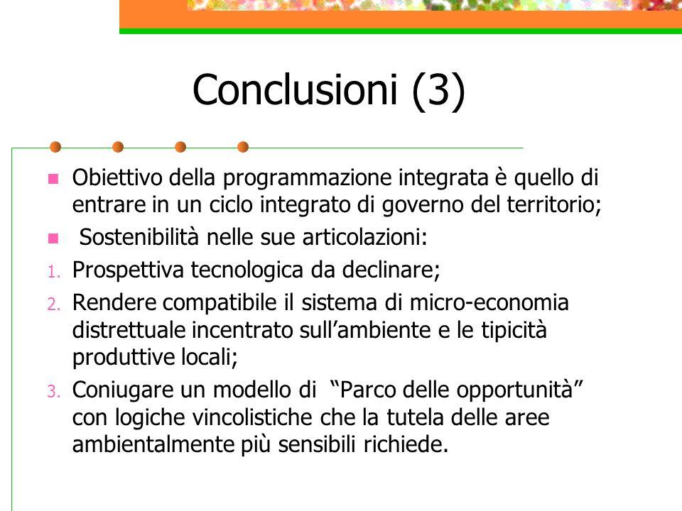 Conclusioni (3) Obiettivo della programmazione integrata è quello di entrare in un ciclo integrato di governo del territorio;