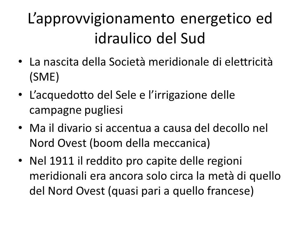 L'approvvigionamento energetico ed idraulico del Sud