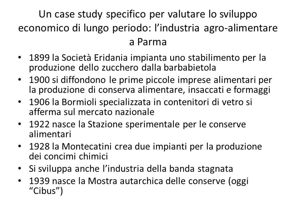 Un case study specifico per valutare lo sviluppo economico di lungo periodo: l'industria agro-alimentare a Parma