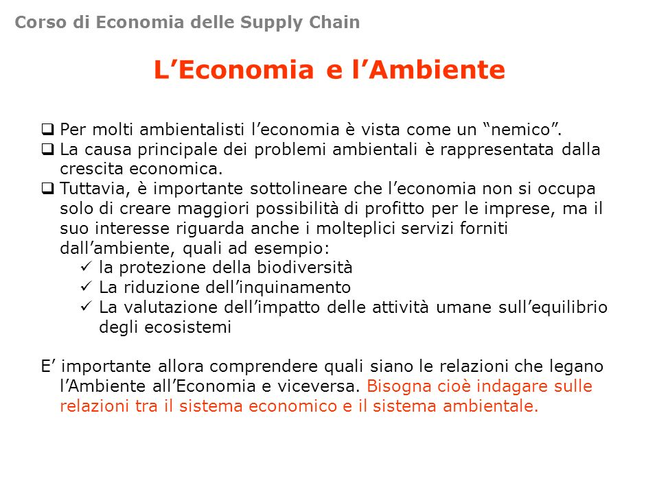 L'Economia e l'Ambiente