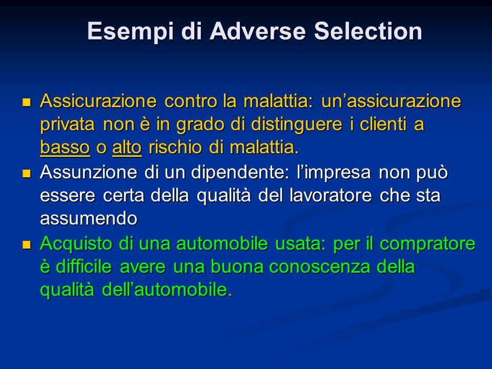Esempi di Adverse Selection