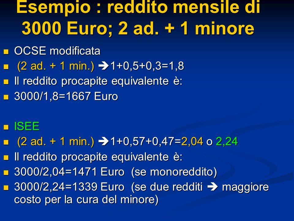 Esempio : reddito mensile di 3000 Euro; 2 ad. + 1 minore