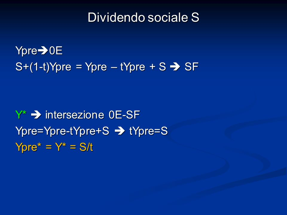 Dividendo sociale S Ypre0E S+(1-t)Ypre = Ypre – tYpre + S  SF