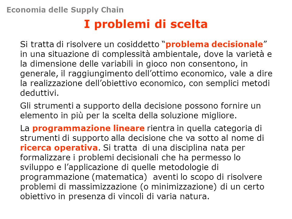 Economia delle Supply Chain
