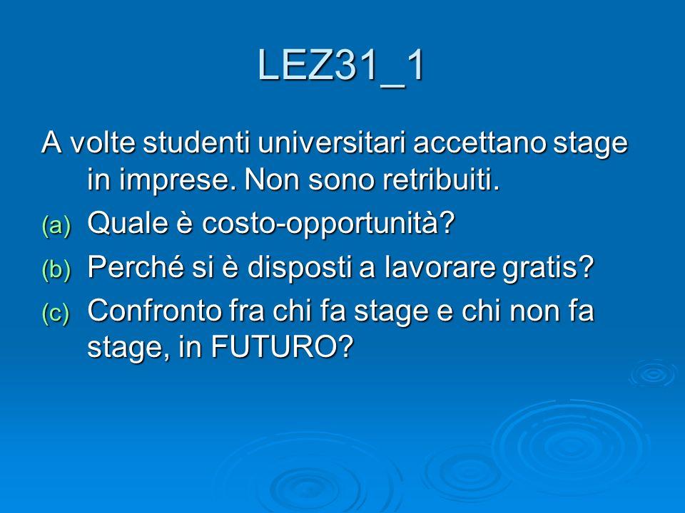 LEZ31_1 A volte studenti universitari accettano stage in imprese. Non sono retribuiti. Quale è costo-opportunità