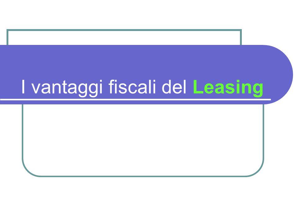 I vantaggi fiscali del Leasing