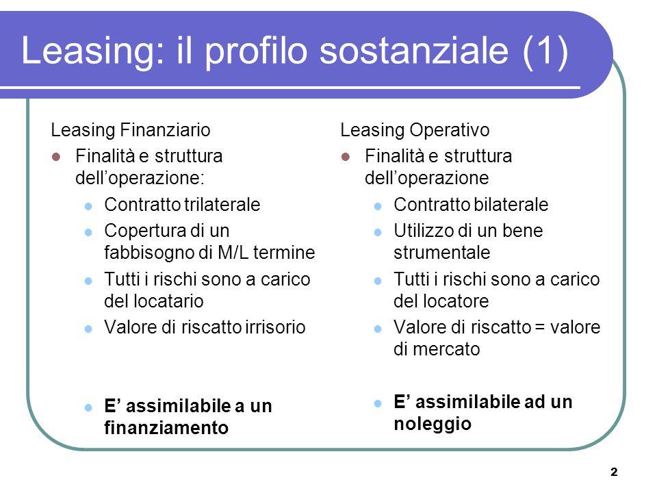 Leasing: il profilo sostanziale (1)