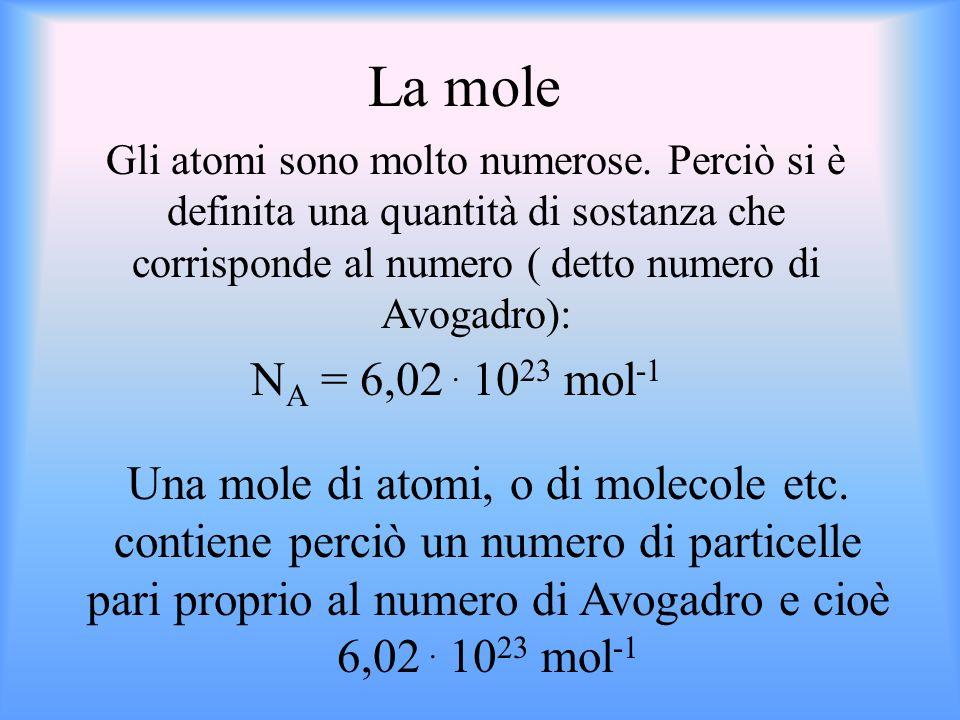 La mole Gli atomi sono molto numerose. Perciò si è definita una quantità di sostanza che corrisponde al numero ( detto numero di Avogadro):