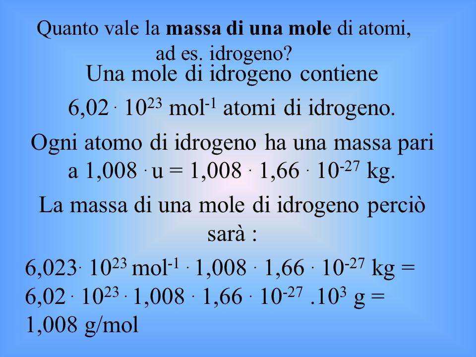Una mole di idrogeno contiene 6,02 . 1023 mol-1 atomi di idrogeno.