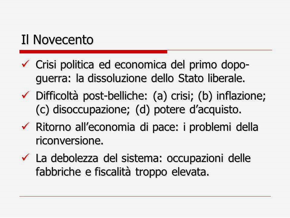 Il Novecento Crisi politica ed economica del primo dopo-guerra: la dissoluzione dello Stato liberale.