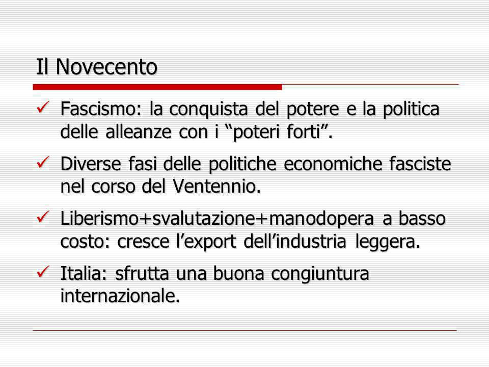 Il Novecento Fascismo: la conquista del potere e la politica delle alleanze con i poteri forti .