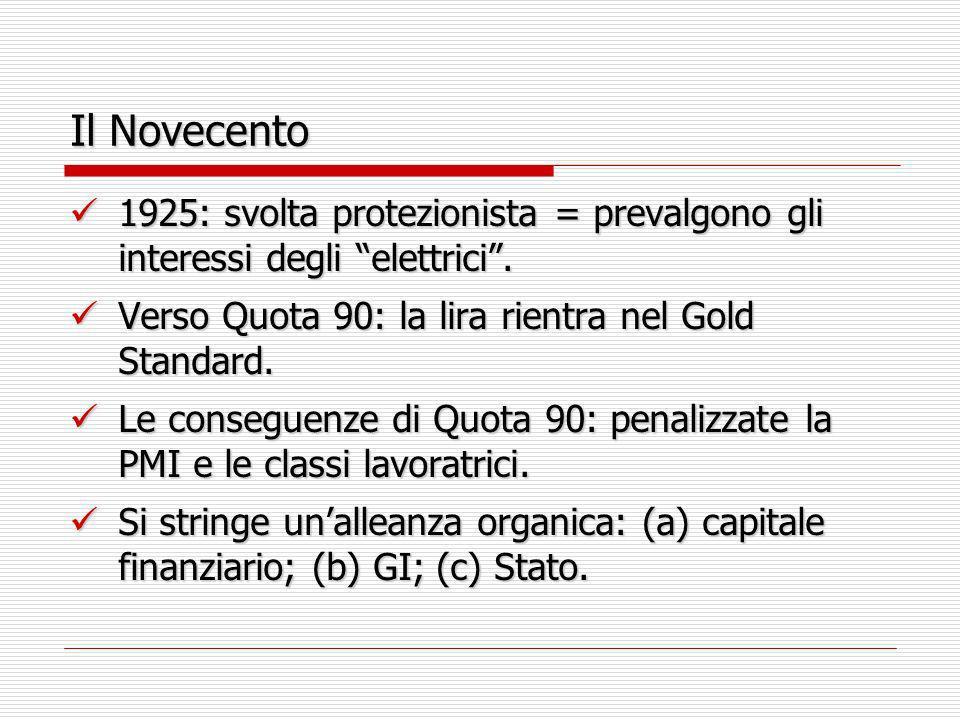 Il Novecento1925: svolta protezionista = prevalgono gli interessi degli elettrici . Verso Quota 90: la lira rientra nel Gold Standard.