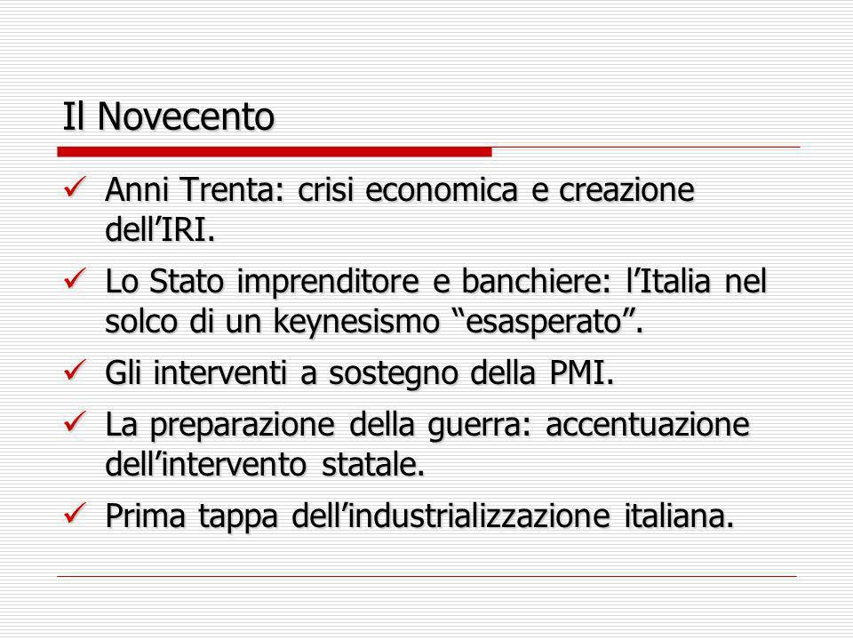 Il Novecento Anni Trenta: crisi economica e creazione dell'IRI.