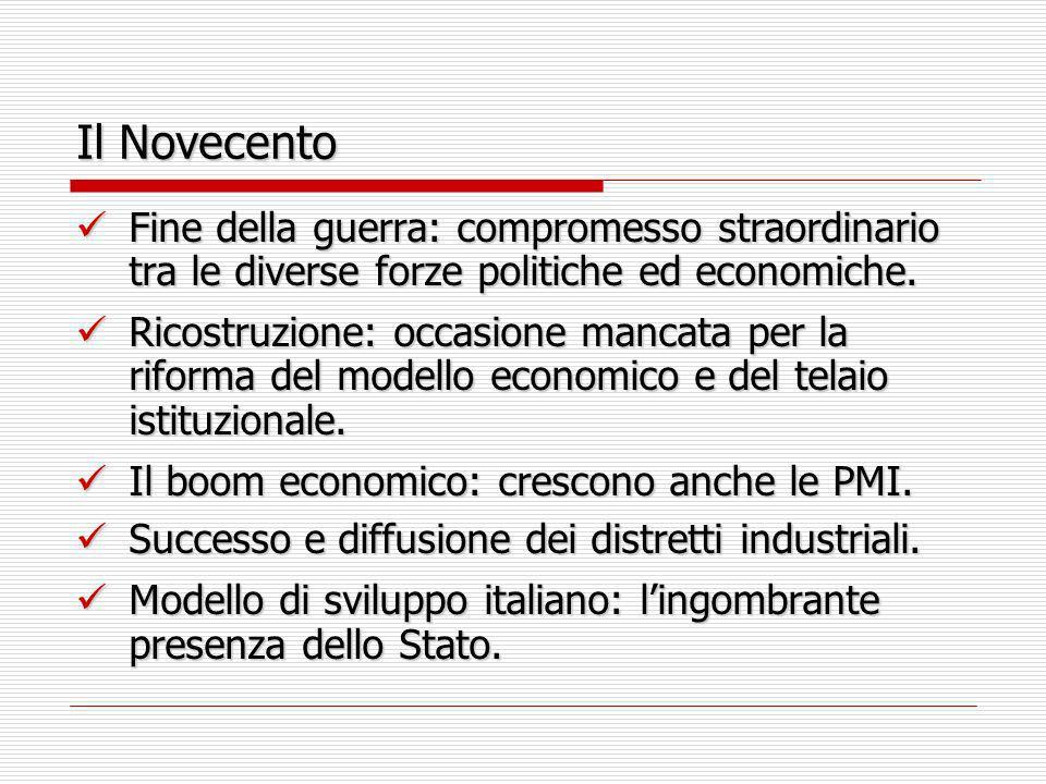 Il Novecento Fine della guerra: compromesso straordinario tra le diverse forze politiche ed economiche.
