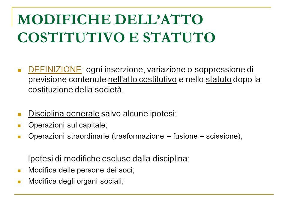 MODIFICHE DELL'ATTO COSTITUTIVO E STATUTO
