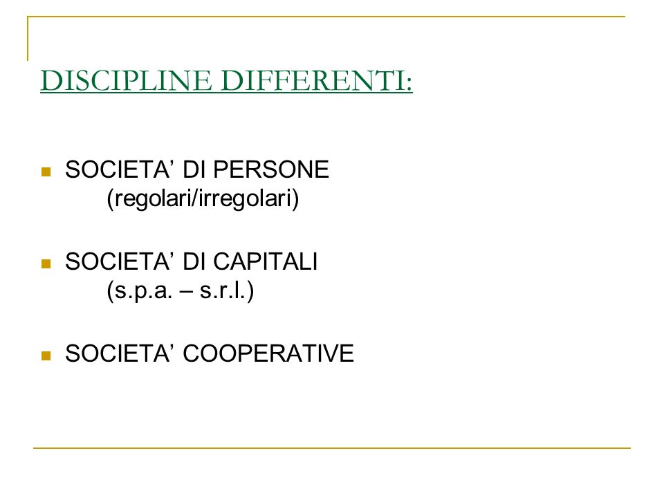 DISCIPLINE DIFFERENTI: