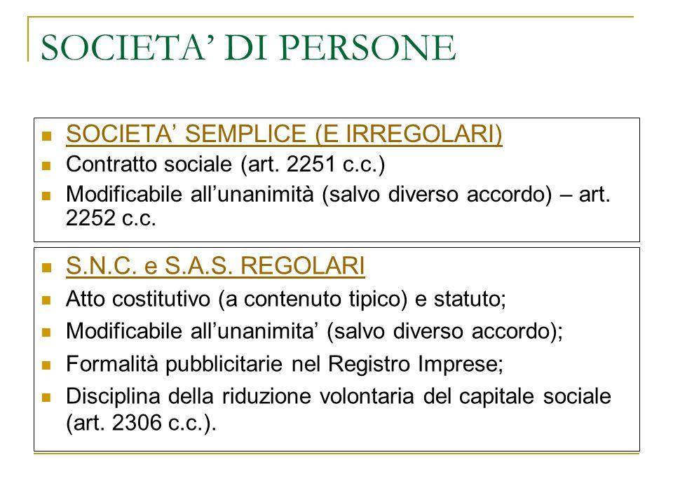 SOCIETA' DI PERSONE SOCIETA' SEMPLICE (E IRREGOLARI)