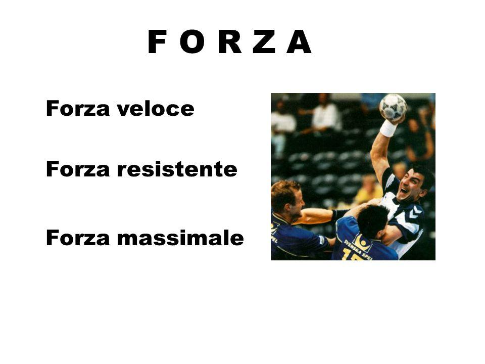 F O R Z A Forza veloce Forza resistente Forza massimale