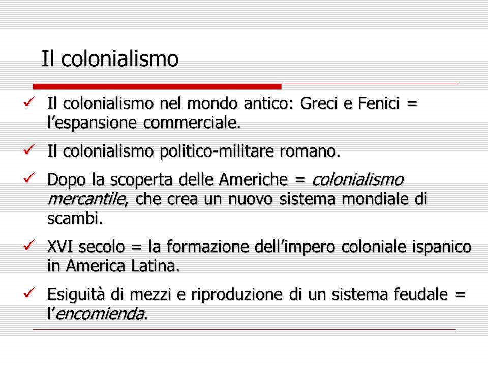 Il colonialismo Il colonialismo nel mondo antico: Greci e Fenici = l'espansione commerciale. Il colonialismo politico-militare romano.