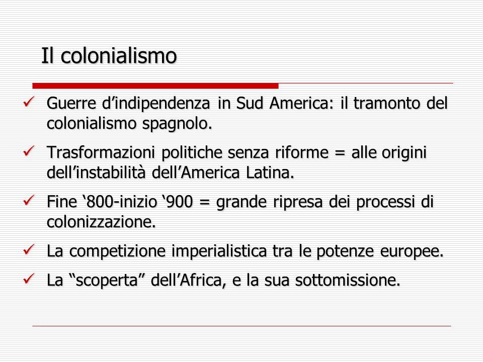 Il colonialismo Guerre d'indipendenza in Sud America: il tramonto del colonialismo spagnolo.