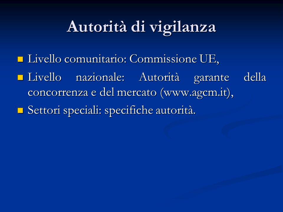 Autorità di vigilanza Livello comunitario: Commissione UE,