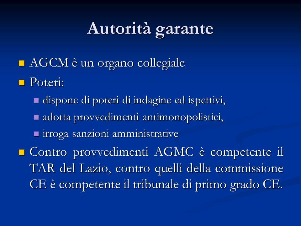 Autorità garante AGCM è un organo collegiale Poteri: