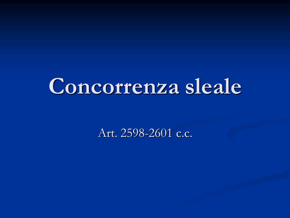 Concorrenza sleale Art. 2598-2601 c.c.