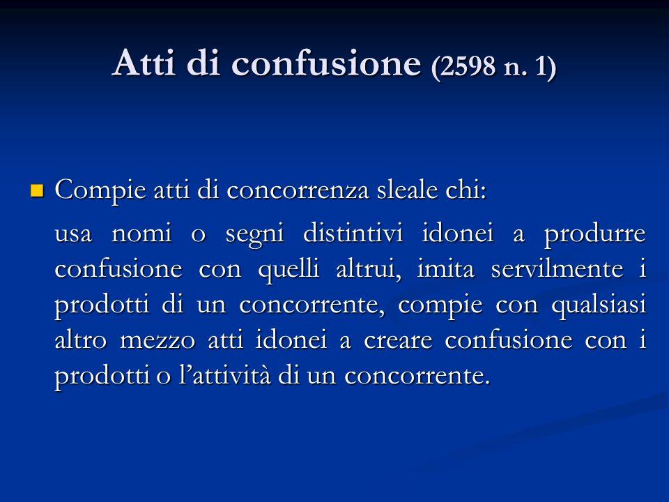 Atti di confusione (2598 n. 1) Compie atti di concorrenza sleale chi: