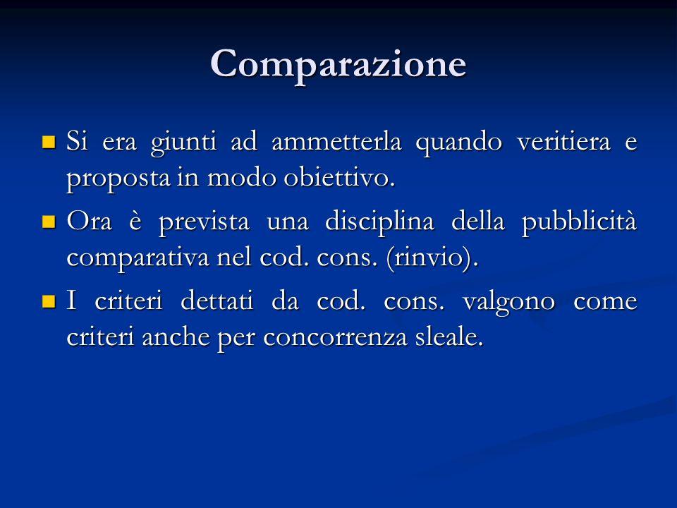 Comparazione Si era giunti ad ammetterla quando veritiera e proposta in modo obiettivo.