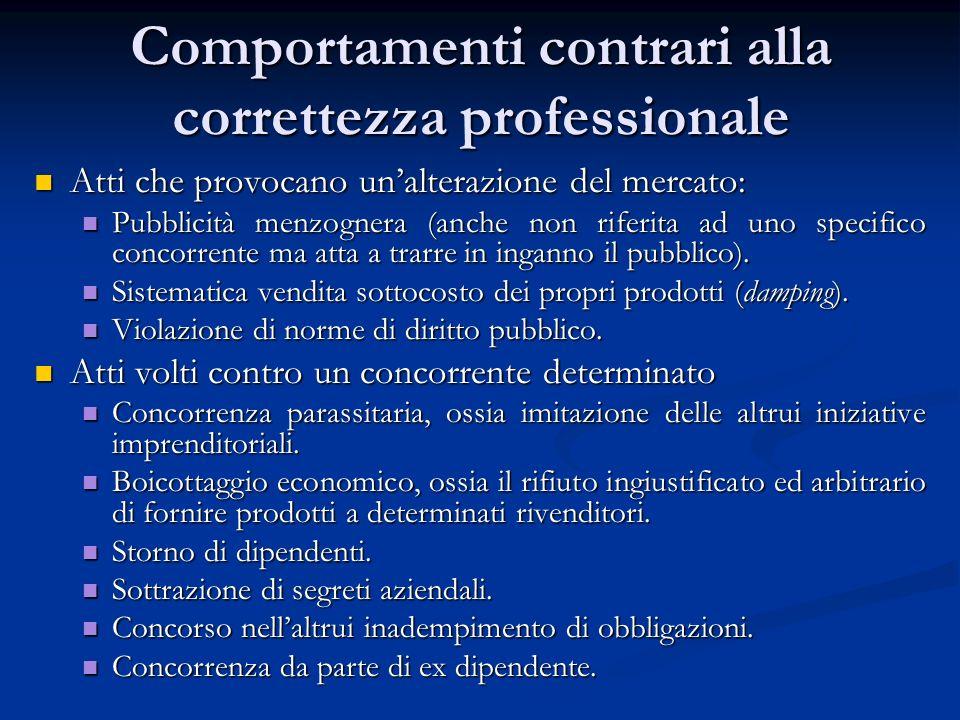 Comportamenti contrari alla correttezza professionale