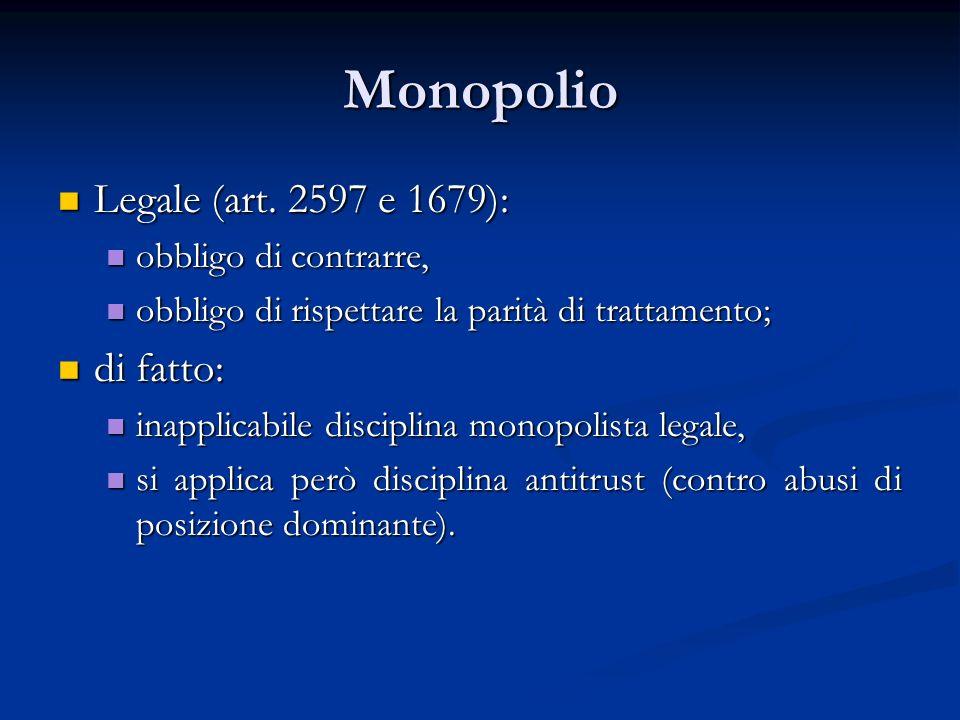 Monopolio Legale (art. 2597 e 1679): di fatto: obbligo di contrarre,
