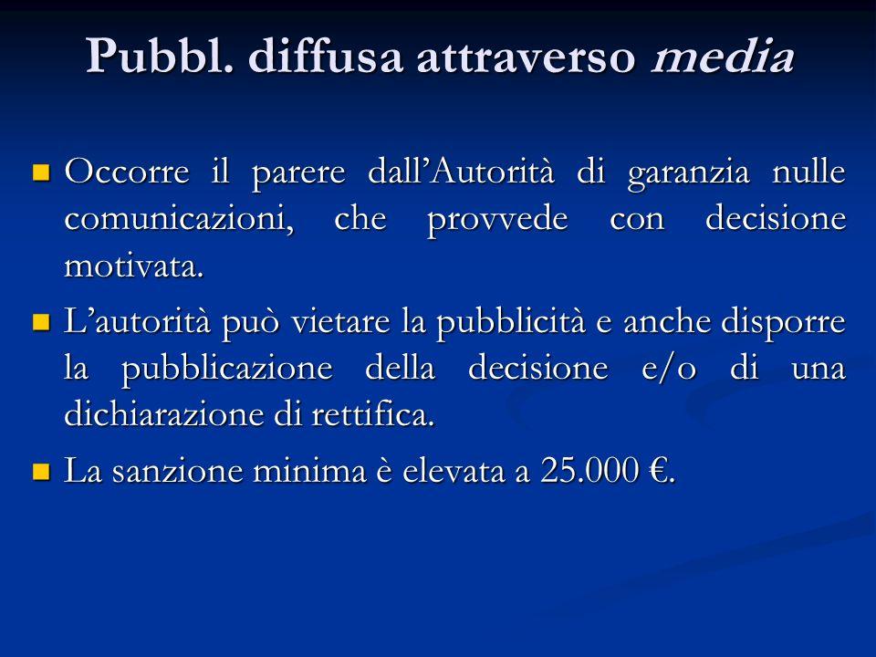 Pubbl. diffusa attraverso media